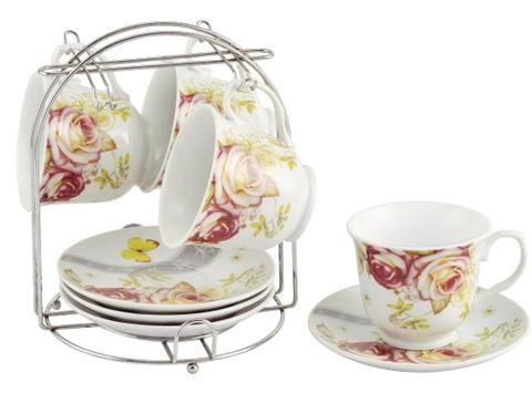 Set of 4 Rose Garden Bulk Wholesale Tea Cups and Saucers with Stand ...