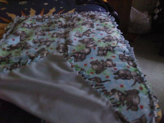 Baby Blue fleece tie blanket