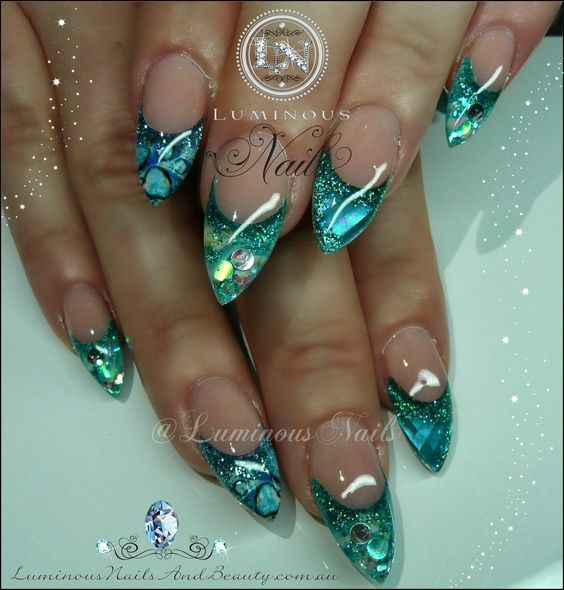 Aqua Nail Art: Luminous+Nails+&+Beauty,+Gold+Coast+QLD.+Sculptured