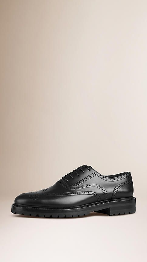 Black Leather Wingtip Brogues With Rubber Sole - Burberry $775.00