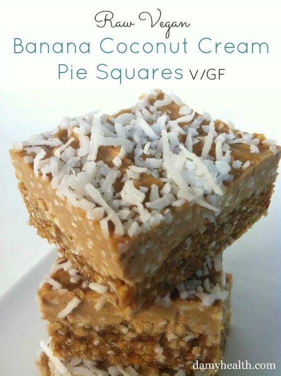 Raw/Vegan Banana Cream Pie Squares ://www.damyhealth.com/2013/03/17-clean-pie-and-square-recipes/
