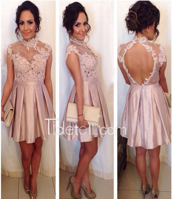 homecoming dress,pearl pink homecoming dress,short homecoming dress,open back…