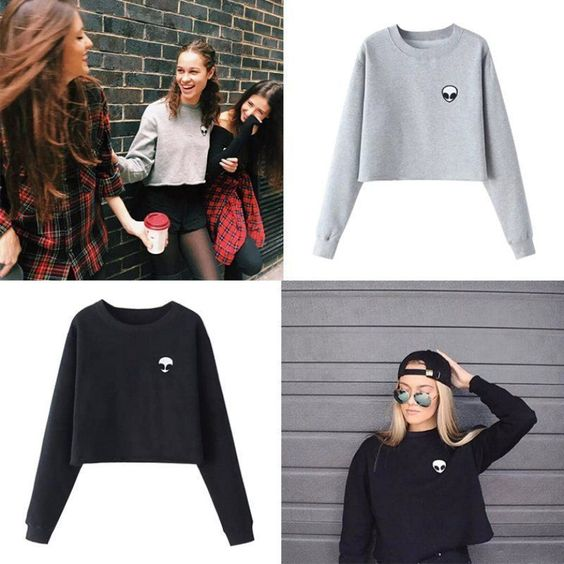 Women Lady Long Sleeve Tee Blouse Casual Crop Tops Alien Print T-Shirt Pullover