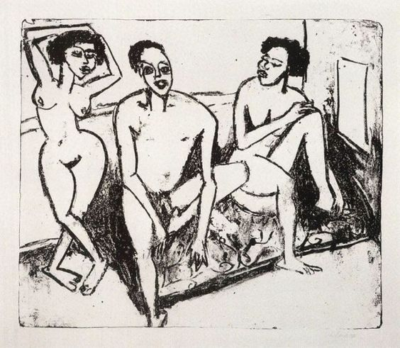 Tre nudi negri by Ernst Ludwig Kirchner (1880-1938)