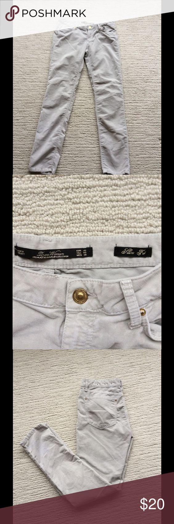 """ZARA WOMAN SLIM FIT VERY THIN CORDUROY JEANS Very light very thin corduroy jeans, size 8, slim fit.29"""" inseam Zara Jeans Skinny"""