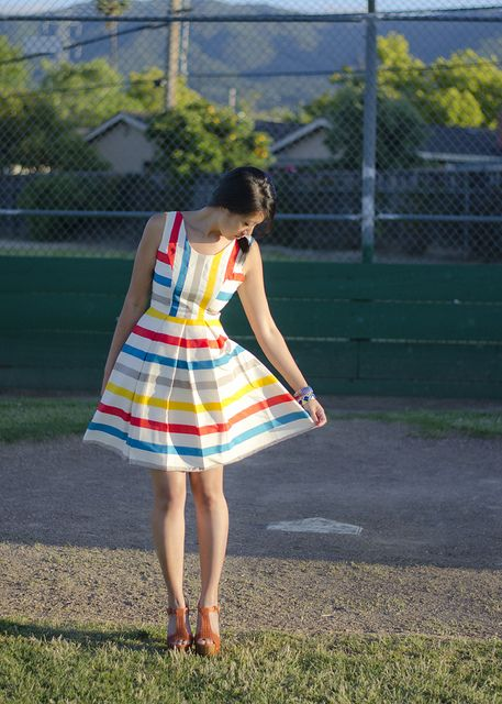 @ModCloth dress  Bakers Heels    #rainbows make life good.