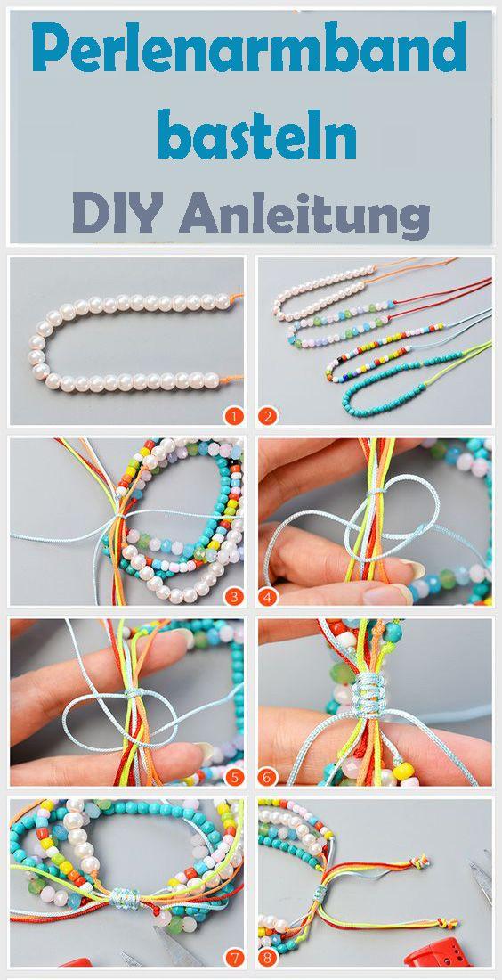 Perlen Armband Selber Machen Kostenlose Diy Anleitung Armband Selber Machen Perlenarmband Selber Machen Diy Armband Perlen