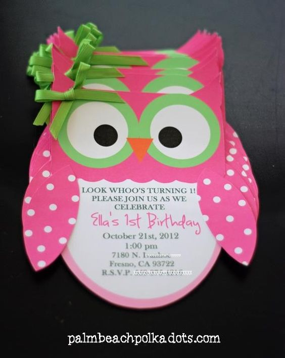 Owl invitations  Need:  - construction paper - Printed directions in white paper  - ribbon - glue  - envolopes big enough