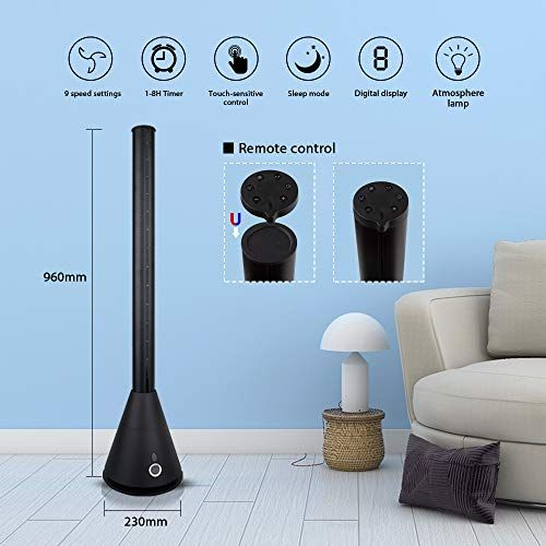 Bladeless Tower Fan Pedestal Standing Fan Oscillating Cooling Fan With Remote Control Mood Light And 9 Speeds 2 Wind Modes Mood Light Standing Fans Tower Fan