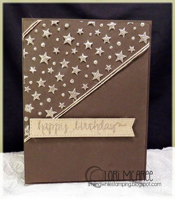 Smiling while Stamping: Starry Birthday handmade birthday card using Avery Elle So Happy stamp set and embossing paste