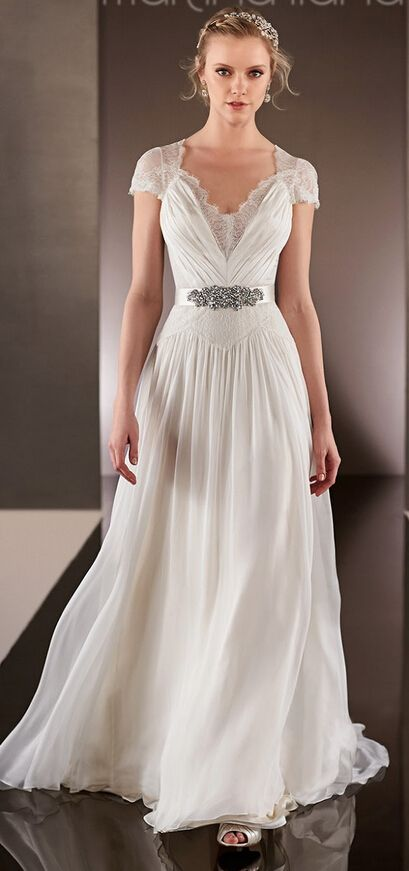 Chiffon wedding dresses queen anne and neckline on pinterest for Queen anne neckline wedding dress