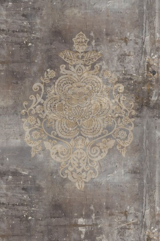 Fototapete vlies designtapete digitaldruck damask for Vintage tapete grau