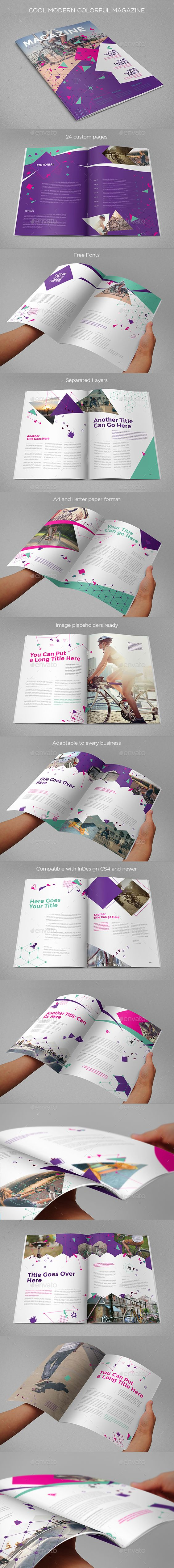 Cool Modern Colorful Magazine Template 	InDesign INDD #design Download: http://graphicriver.net/item/cool-modern-colorful-magazine/14204823?ref=ksioks