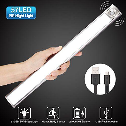 Glime Lampe A Detecteur De Mouvement 3 Modes Lumiere Auto Veilleuse Usb Rechargeable Led Lumiere Blanc Pour Cabinet Penderie Escalier Placard Entree Detecteur De Mouvement Et Veilleuse