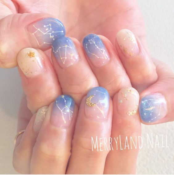Simple Constellation Nail Art: 25 Simple Nail Design Inspiration