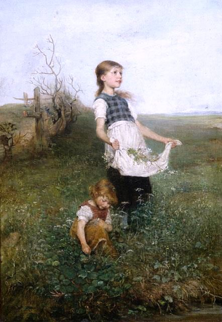 """Emil Keyser, """"Two Young Girls Picking Flowers"""""""