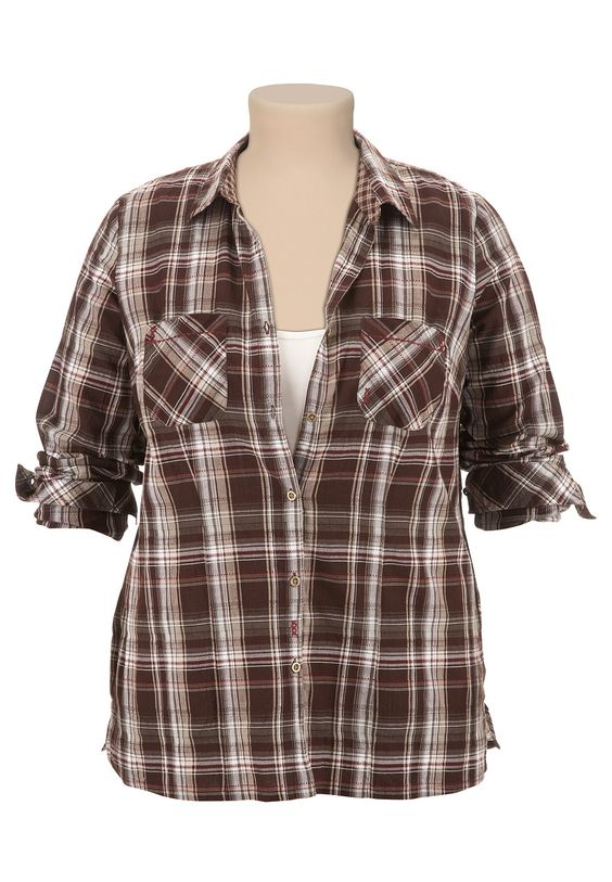 Long Sleeve Textured Plaid Shirt - maurices.com