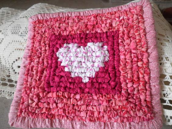 Locker Hooked Valentines Day Pot Holder / Trivet Kitchen Neccessity Retro Design Sweet Heart Home Gifts. $9.95, via Etsy.
