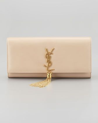 Cassandre Tassel Clutch Bag, Off White by Saint Laurent at ...