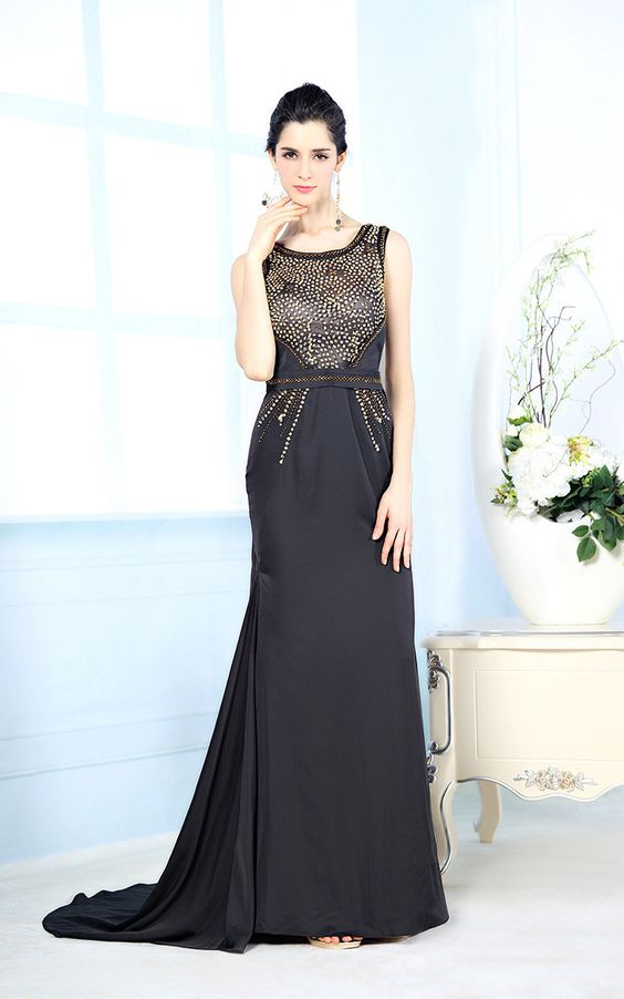 Modest Black Formal Evening Dress with Beadings