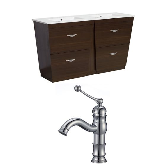 American Imaginations 60-in. W x 18.5-in. D Ply-Melamine Vanity Set In Wenge With Single Hole Cupc Faucet