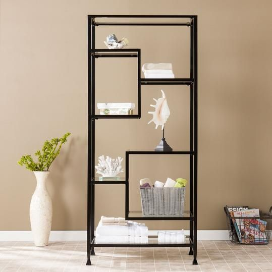 7 Etageres That Belong In Your Living Room Glass Bookshelves Etagere Bookcase Furnishings Metal and glass bookshelf