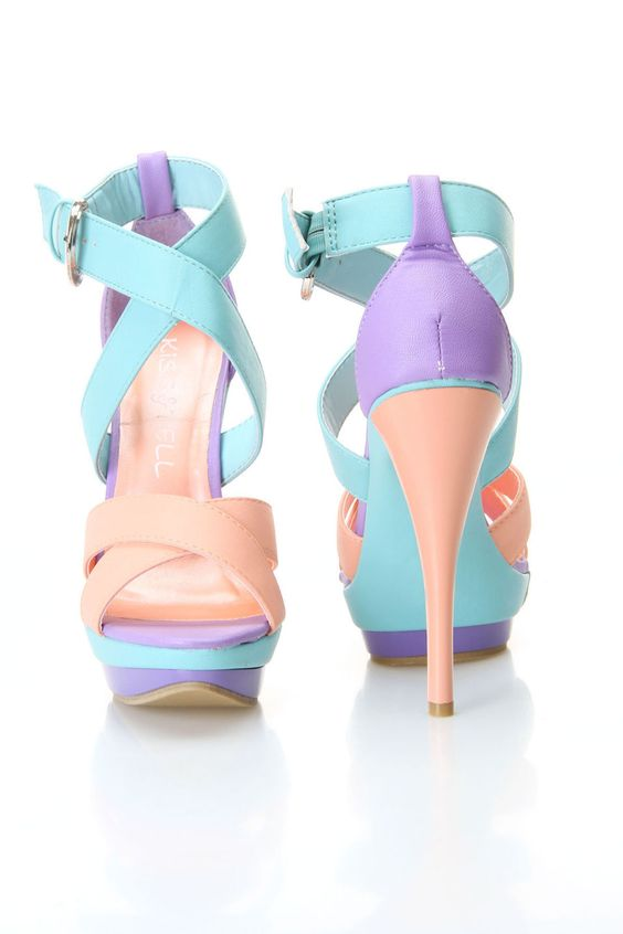 Pastel heel sandal. Nice color combo WANT :) :) | ♛My style ...