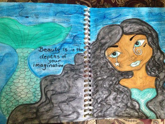 Art journal mermaid with caran d'ache watercolour crayons