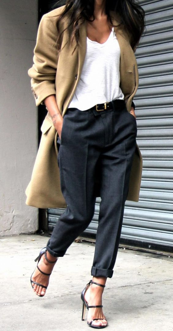 gray tailored peg pants, strappy heels, white t-shirt, tan trench coat
