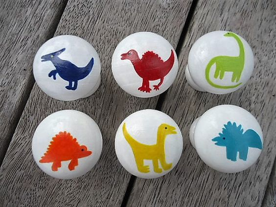 Handpainted Wooden Drawer Dinosaur Knobs Set of 6 by MYMIMISTAR