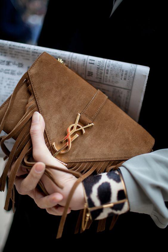 Paris Fashion Week Street Style | saint laurent brown suede fringe clutch | 2015 handbag trend | womens outfit ideas