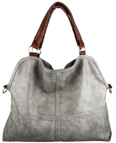 Everyday Free Style Gray Tan Soft Embossed Ostrich Double Handle ...
