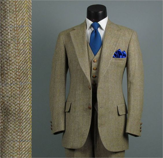 Vintage Mens Suit 1970s Austin Reed Preppy Professor Tan Tweed Etsy Vintage Suit Men Vintage Suits Mens Suits