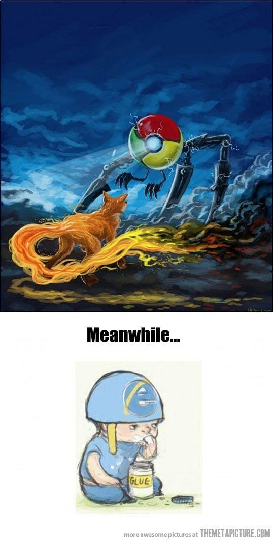 Firefox vs. Google Chrome while Internet Explorer eats glue.  internet funnies, computer humor.