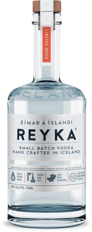Reyka Vodka is produced by Iceland's only distillery in Borgarnes, Iceland, a small coastal village steeped in Viking history and lore. Made from the purest Icelandic spring water from the nearby Grabok spring, crafted by hand in small batches from a rare Carter-Head still, and filtered through ancient lava rocks, Reyka captures a clean taste with a crisp, smooth finish.