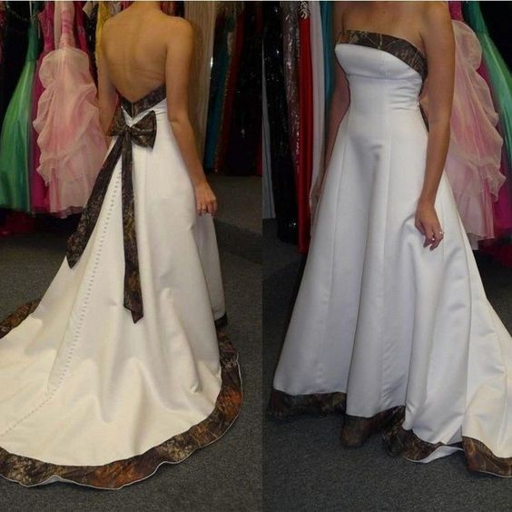 White Satin Camo Wedding Dresses Camouflage Bridal Gowns Size 2 4 6 8 10 12 14++