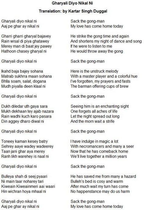Bullah Shah Gharyali Diyo Nikal Ni English Translation Sufi