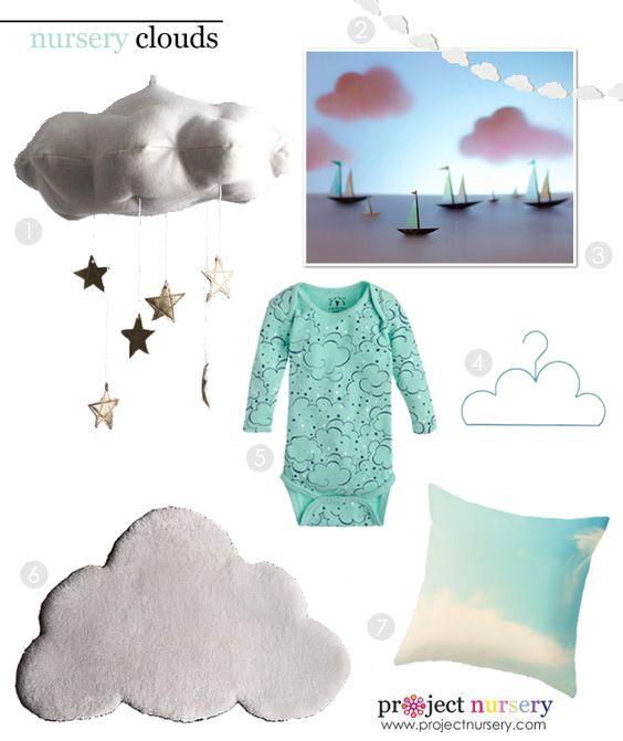 Nursery Clouds Room Decor Design Board - #nursery #designboard