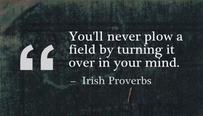 You'll never plow a field by turning it over in your mind. - Irish Proverbs