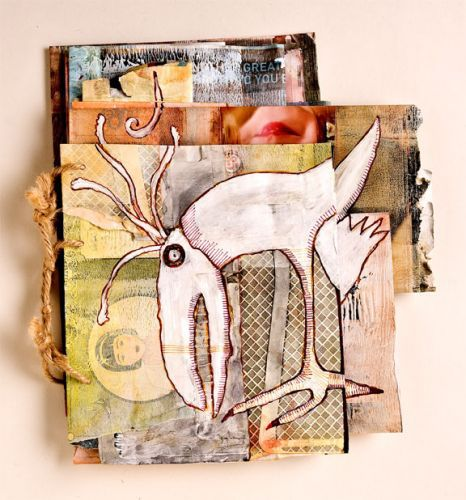 Carla Sonheim Mixed Media example from her class.  I love how whimsical her art is!