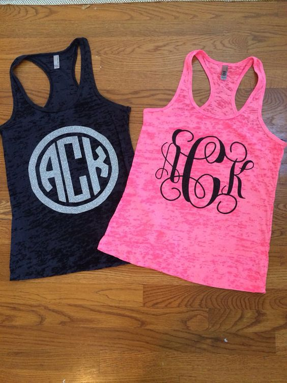 Burn out tank with vinyl monogram on front of tank. Available in script or block. Block is available with or without the circle around it. Black