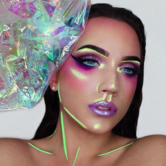 """Holographic"" light play makeup art"