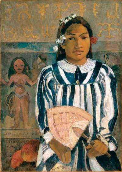 "Paul Gauguin's 1893 work ""Tehamana Has Many Ancestors"" from Gauguin's first journey to Tahiti. He was disappointed that the primitive paradise he sought was being suffused by Western colonial forces. He painted Tehamana (who became his companion) in the modest ""Mother Hubbard"" dress that was imposed on Tahitian women by missionaries.:"