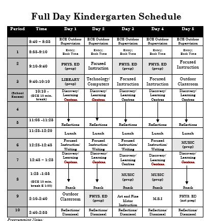 Sample Full Day Kindergarten Schedule