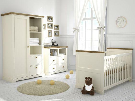 sympatisches-Kinderzimmer-Möbel-Creme-Farbe-Babybett-Schrank ...