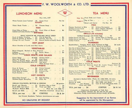 Woolworth Lunch Counter Menu       Day, 1937, at the restaurant lunch counters of F  W