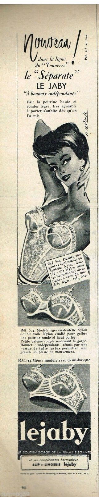Publicité Advertising 1957 Lingerie Sous Vetements Soutien Gorge Lejaby   eBay