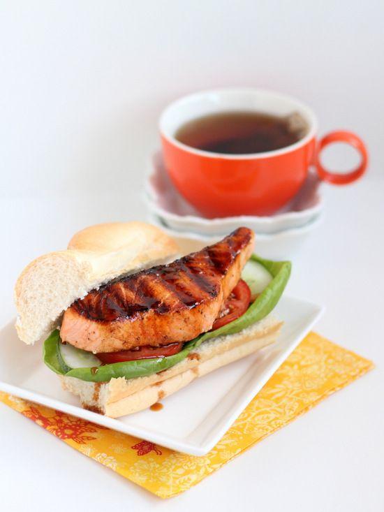 Caramel Glazed Salmon Sandwich.