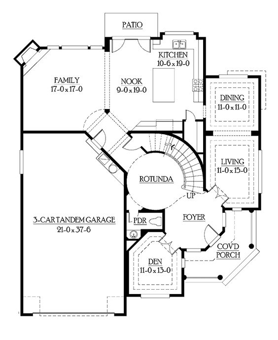 House plans with circular staircase print this floor for Curved staircase floor plans