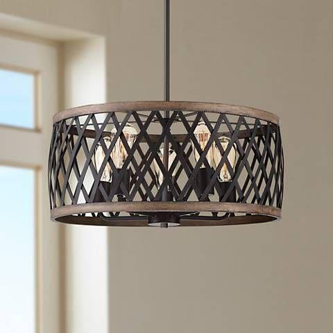 Aruba 20 Wide Woodgrain And Bronze 5 Light Drum Pendant